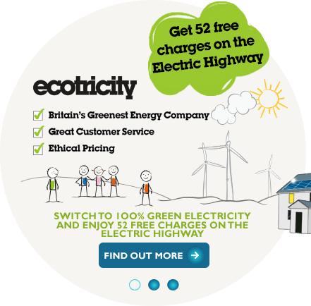 Get 52 free charges on the electric highway when you switch to Ecotricity green energy suppliers