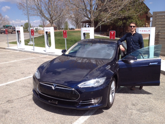 Roger's son and Starship Teslaprise at the Blanding, Utah charging station